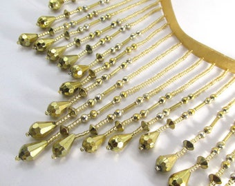 Metallic Gold 5 inch Long Beaded Fringe Costume, Burlesque or Decorator Trim - By the Yard or Half Yard
