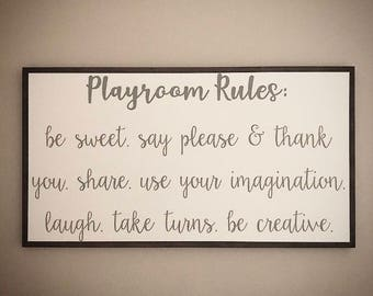 Custom Wood Playroom Sign - Children's Playroom Rules Sign - Customizable Handcrafted 20x36 Wooden Kid's Playroom Sign - Custom Wood Signs