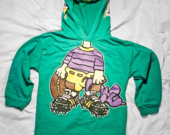 80s Peanuts kids hoodie - Vintage Green charlie brown childrens pullover - Snoopy youth shirt
