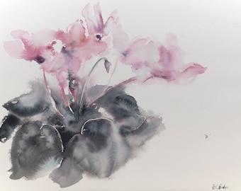 Cyclamen - original watercolor painting