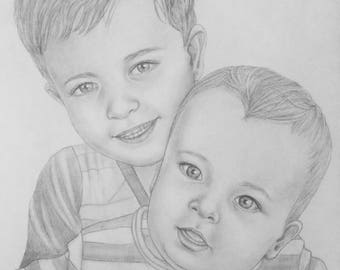 Custom pencil portrait ideal Mother's day gift