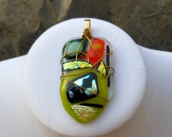 Wire Wrap Dichroic Glass Pendant, Fused Glass Jewelry, Dichroic Glass Necklace, Freeform, Lime, Gold Wire, Bright Orange, Black