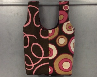 handmade carry-all lunch bag or purse - eco friendly, washable, durable - pink and brown circles and swirls