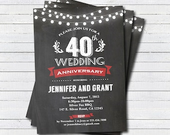 40th anniversary invitations etsy 40th wedding anniversary invitation red 40th wedding anniversary chalkboard invite string light printable digital invite an101 stopboris Choice Image
