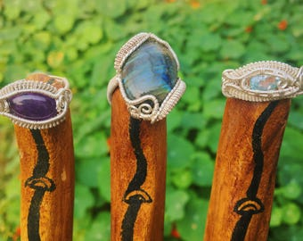 Amethyst Labradorite and blue topaz sterling silver handmade rings