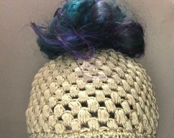 Messy bun hat, pony tail hat, messy bun beanie, bun hat, runners hat, elastic messy bun hat, crochet bun hat, crochet ponytail hat, crochet