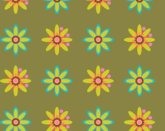 Alison Glass Field Day Fabric, Daisy Olive, Andover Fabrics