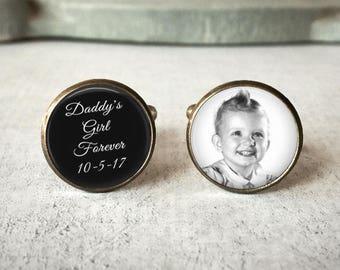 Personalized Cufflinks, Wedding Cufflinks, Father of the Bride Cufflinks, Daddy's Girl Forever, Photo Cuff Links, Custom Cufflinks, Dad Gift