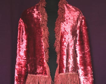 Mother of pearl crimson glam jacket with fringes 1970s 1960s magic UK 12