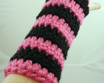 Pink and Black Striped Crocheted Arm Warmers (size M-L) (SWG-AW-MB-01)