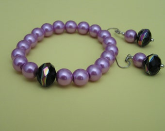 Beautiful raspberry sherbert pearl stretch bracelet with earrings unique focal bead- Free US shipping