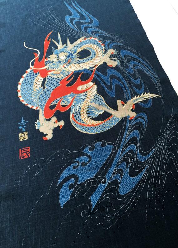Panneau de noren japonais dragon rideau bleu indigo rideau - Dragon japonais ...