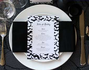 Halloween Bats Spooky Menu Creepy Gothic Dark Black White Scary Fall Wedding Party Menu - Script Font