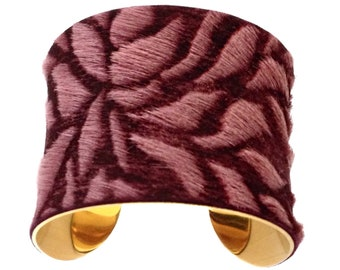 Burgundy Floral Laser Etched Leather Gold Cuff Bracelet - by UNEARTHED