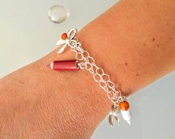 Teacher, school, bracelet charm bracelet round centerpiece, teacher gift, pencils, ruler, scissors, original, centerpiece