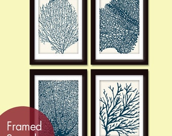 Underwater Sea Coral Collection (Series C) -Set of 4 - Art Prints - Featured in Cream and Navy