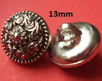 10 Small Knobs Silver 13 mm (6663) blouse knobs