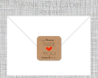 Thank You label- custom- 2 inch square, brown kraft or white label, wedding announcement, shower gift, wedding gift - SET OF 20