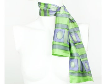 Vintage 1970s 70s Hand Painted Silk Scarf Green Grey Made in France Ascot Boho