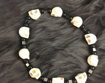 Black and White Skull Bead Bracelet Goth Style