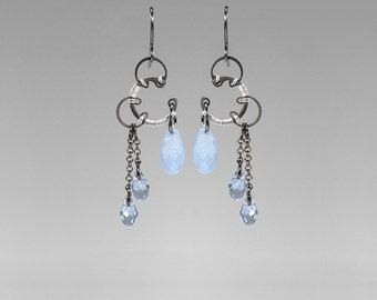Blue Swarovski Crystal Earrings, Industrial Jewelry, Air Blue Opal Swarovski, Light Sapphire Swarovski, Space Jewelry, Nebula II v9