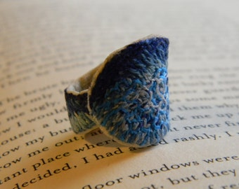shades of blue hand made , hand embroidered fabric ring, statement ring, fiber art, textile ring
