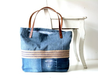 Denim bag with leather straps and stonewashed blue linen, recycled denim bag, canvas tote bag, pure linen, jeans bag, denims bags