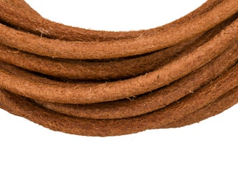 Full-grain leather cord, 3mm round natural brown 5 yard roll