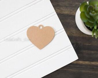 25 Heart Kraft Tag