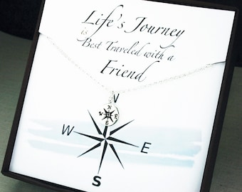 Best friend gift bff compass necklace best friend necklace friendship necklace compass necklace friend compass necklace best friend poem