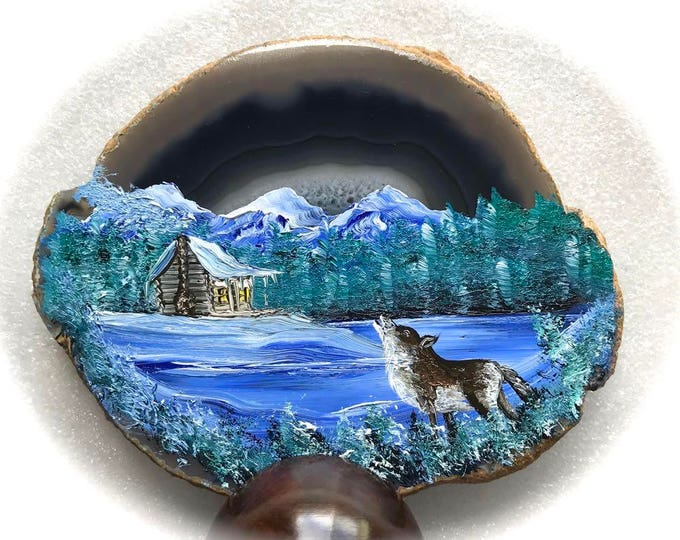 Hand Painted Brazilian Agate Winter Log Cabin and Wolf