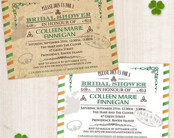 Vintage Irish Bridal Wedding Shower Invitation, Printable, Evite or Printed (US Only) Invitations