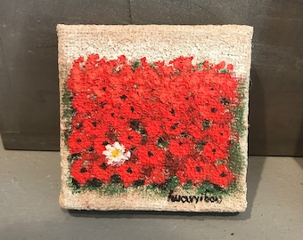 poppies mini canvas hand painted by Ioannidou