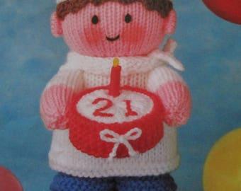 Handmade Knitted Chef With Birthday Celebration Cake, Keepsake (New, Made To order)