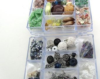 Bargain Double Box of Beads, Fiver Friday Special Offer, Destash Lot, Mixed Glass Beads, Buttons, Seed Beads, Bead Soup