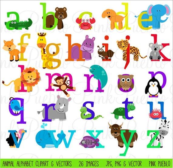 Animal Alphabet Font with Safari Jungle Zoo Animals