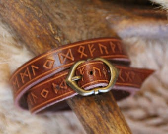 Runes vegetable tanned leather bracelet