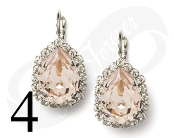 Set of 4 Earrings Champagne Earrings Silk Earrings Bridal Jewelry Bridesmaid Jewelry Leverback Earrings Rhinestone Earrings Bridesmaid Gift