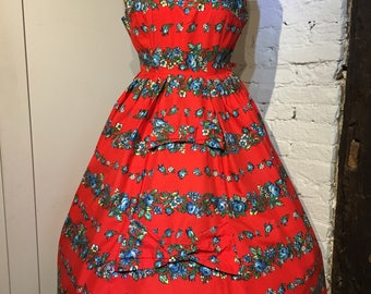 Vintage 1950s Cotton Dress with Floral Border Print & Bows by Provawear, UK12