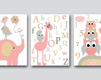 Kids Wall Art Owsl Nursery Prints Giraffe Nursery Art Elephant Nursery Baby Girl Nursery Kids Art Baby Room Decor set of 3 Pink Gray