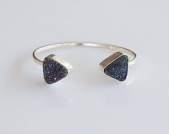 Druzy Quartz Cuff Bracelet, Drusy Cuff Bracelet, Sterling Silver Cuff Bracelet