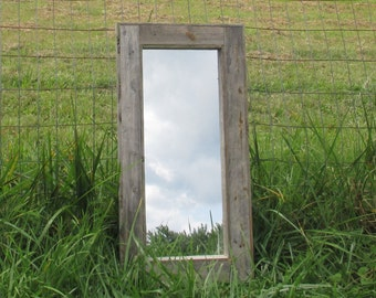 Rustic Mirror Made From Grey Reclaimed Wood - Long Mirrors