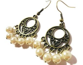 Pearl Chandelier Earrings, Tan Beige Faux Pearl Bead Earrings, Glass Pearl Beaded Earrings, Bronze Hoop Earrings, Women's Beadwork Jewelry