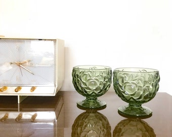 Set of Vintage Olive Green Dessert Cups