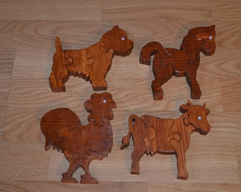 Wooden Puzzles with four animal toy