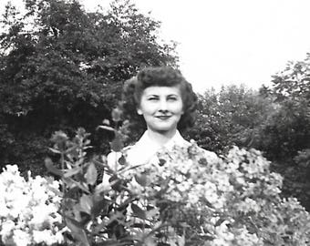 """Vintage Snapshot """"Prickly Personality"""" Woman Stands Behind Flowering Shrubbery Found Vernacular Photo"""
