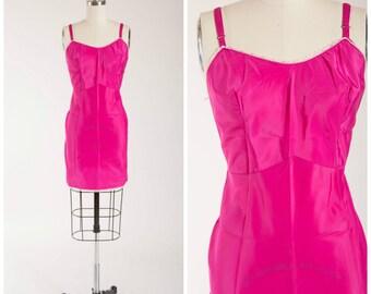 1960s Vintage Slip • Vivid Violets • Magenta Pink Nylon Vintage 60s Lingerie Size Small