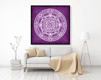 "Original Drawing - Colorful Folk Mandala - 12x12"" up to 24x24"" Art Print, Wall Decor, Illustration"