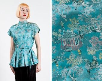Vintage 1950s Aqua Blue Brocade Chinese / Cheongsam / Mandarin Collar Blouse