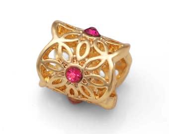 Filigree Beads, Filigree Charms, Gold Plated European Beads, Fit European Charm Bracelets #17
